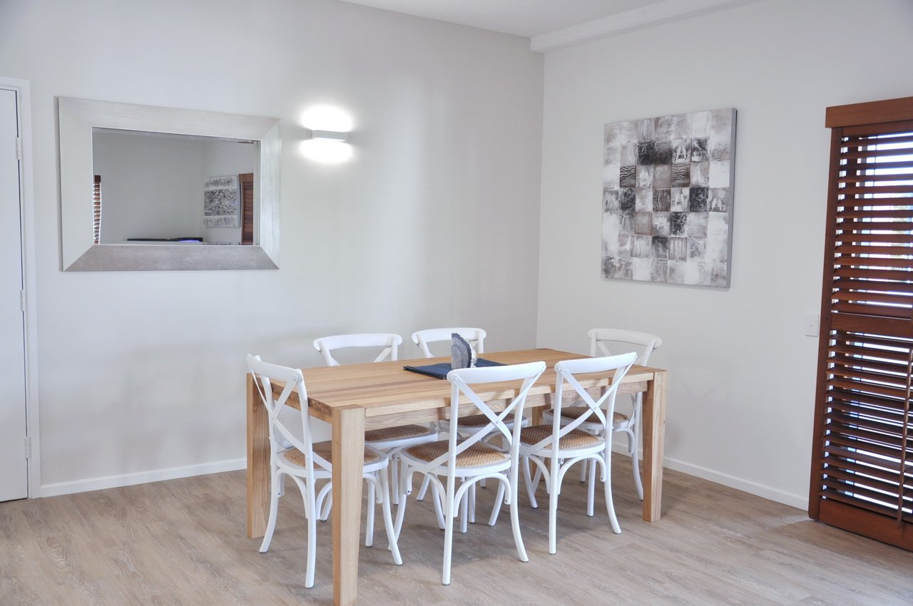 The open plan dining area in our Two Bedroom Deluxe Apartment 9