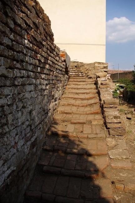 concrete staircase on the south side garden access