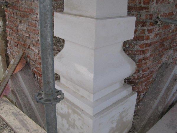 plaster finishing on column