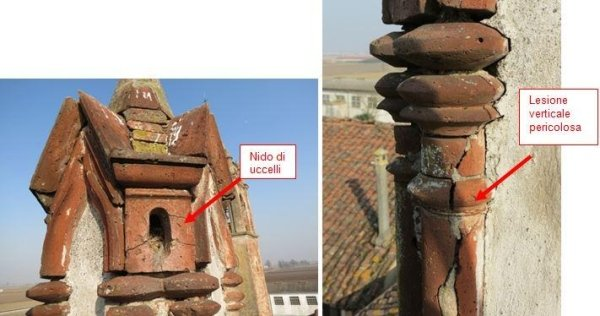 Detail of damaged terracotta balusters