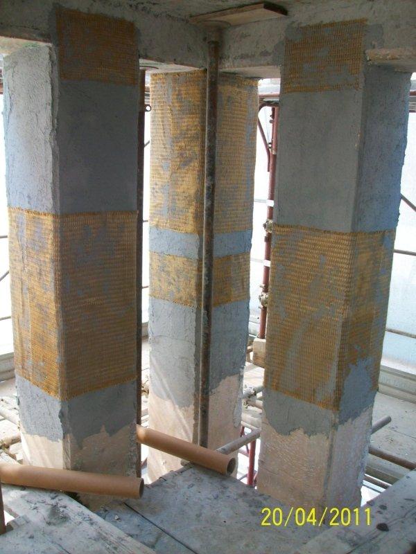 placcaggio parziale dei pilastri con sistema FRCM mediante rete in PBO