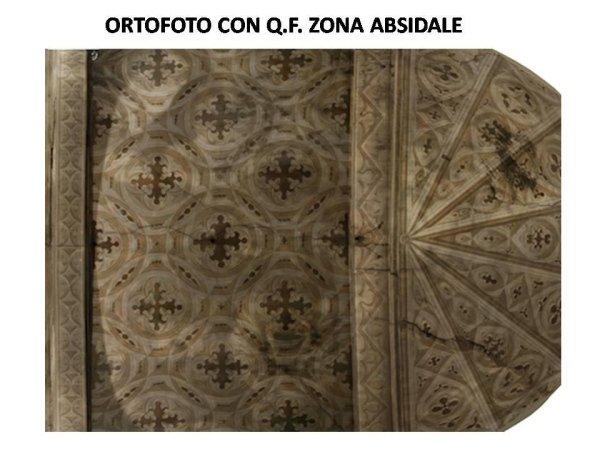 rilievo fotografico: ortofoto con quadro fessurativo zona absidale