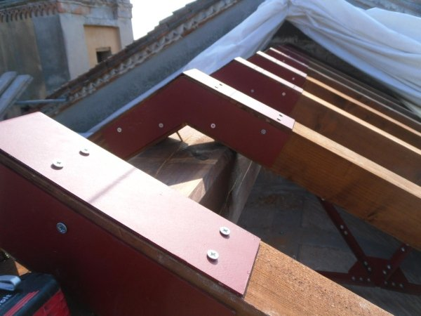 roof view with new metal truss