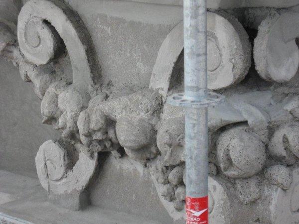 detail of restored concrete frieze