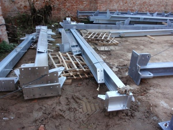 Metal profiles ready for assembly on site