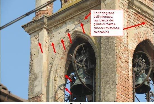 Belfry - details of plaster and joint mortar deterioration