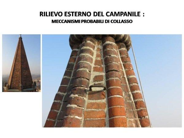 rilievo esterno del campanile: probabili meccanismi di collasso della guglia