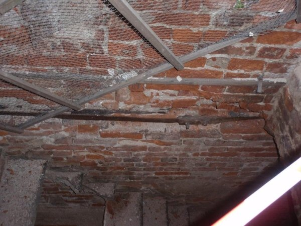 View of steeple interior tie-rod on third level