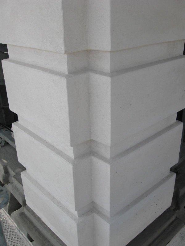 restored and plastered belfry column