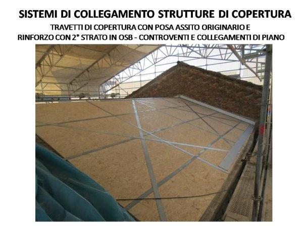 sistema di collegamento della struttura di copertura realizzato con pannelli in OSB su assito originario e controventi metallici