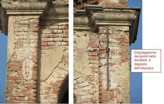 Details of degraded plaster and masonry in the upper part of the bell tower