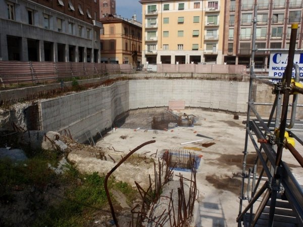 View of access ramp area with pump room foundation rebar