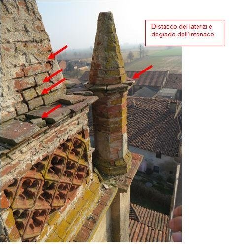 View of spire and baluster with details of brick separation