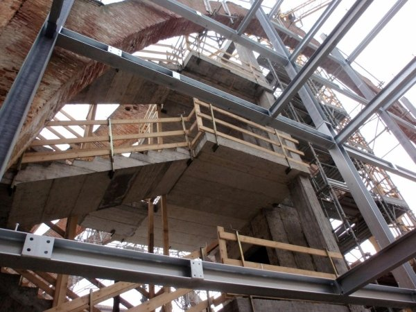 View of lift shaft and metal frame