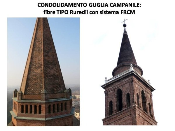 steeple spire consolidation works with FRCM fibre system
