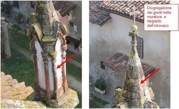 Degrado delle colonnette in cotto sulla facciata