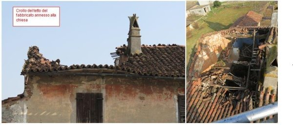 Partial roof collapse in the church adjoining building