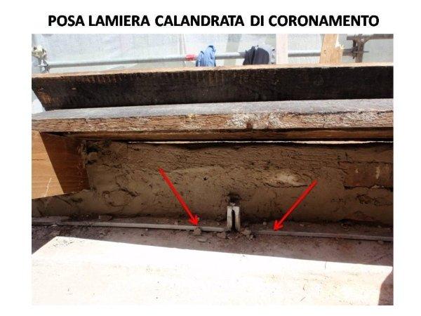 zona abside: posa di lamiera calandrata sulla muratura