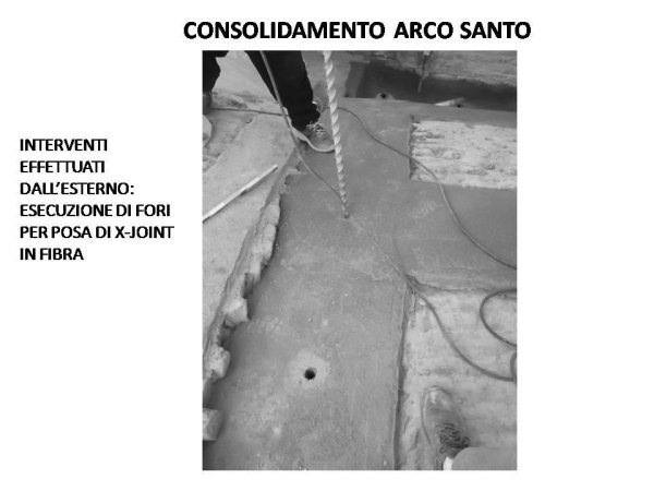 holy arch consolidation: drilling holes for inserting XJoint fibre connectors