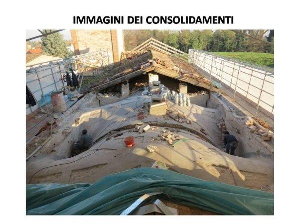 interventi di consolidamento già eseguiti sulla volta e arconi della navata centrale