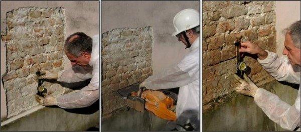 monitoraggio: esecuzione di carotaggio orizzontale nella muratura