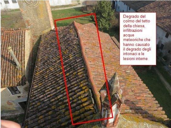 Damage to the church roof ridge