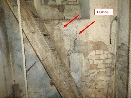 Evident internal lesion in bell tower walls