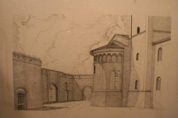Plate illustration scan of San Bassiano Basilica in Pizzighettone