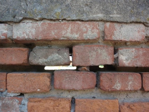 Masonry detail highlighting deteroirated or totally absent mortar joints
