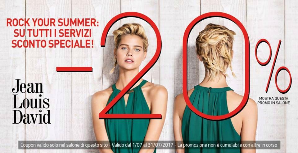 banner promozionale sconto 20% prodotti Jean Louis David