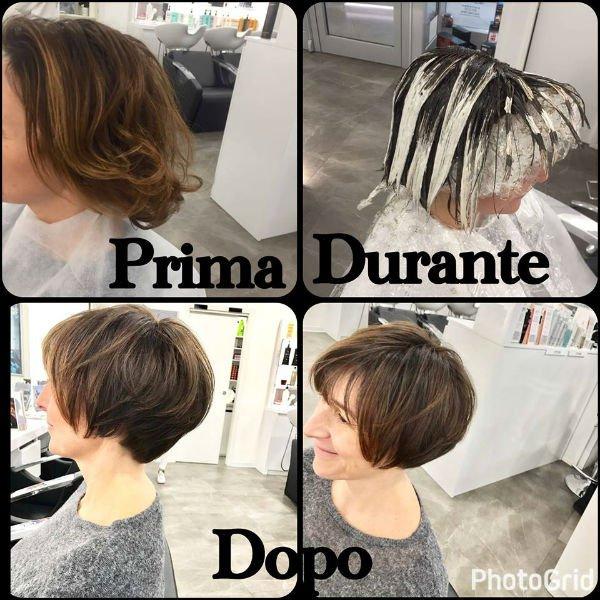 immagine donna prima durante e dopo taglio capelli