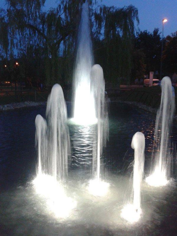 una fontana in funzione in un laghetto in un orario notturno
