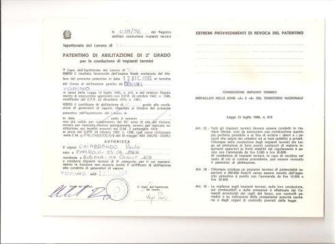 Patentino abilitazione di 2° grado  Chiabrando Paolo