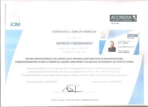 Certificato Giorgio Chiabrando