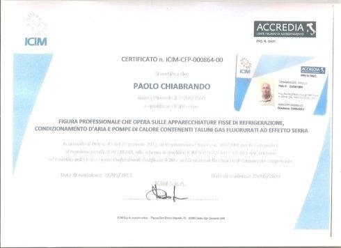 Certificato Paolo Chiabrando