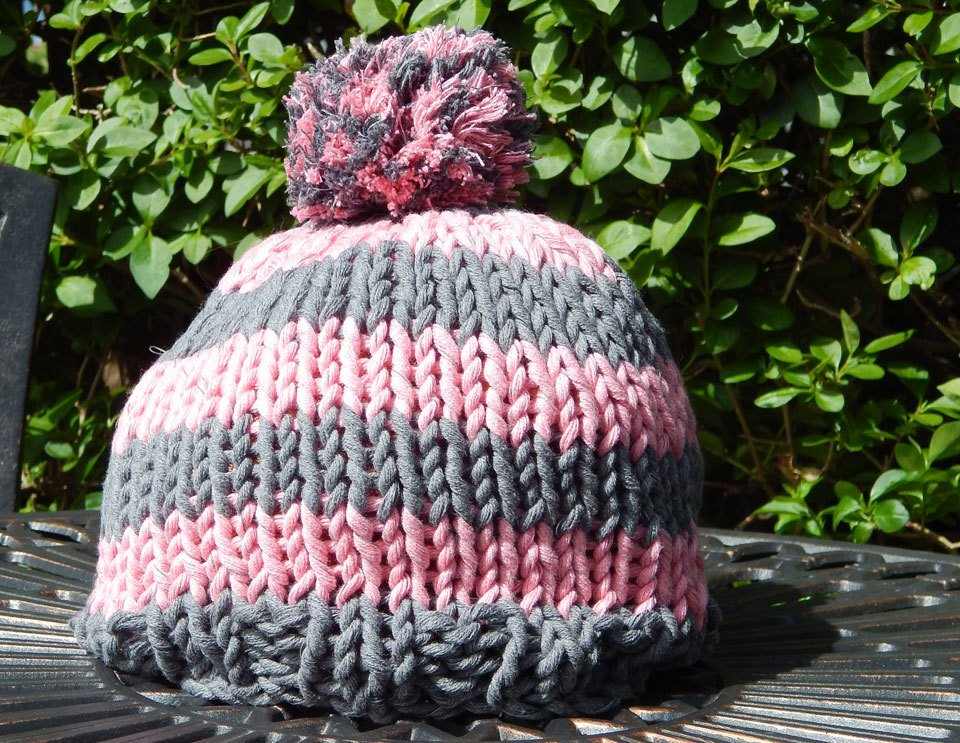Grey and Pink Beanie