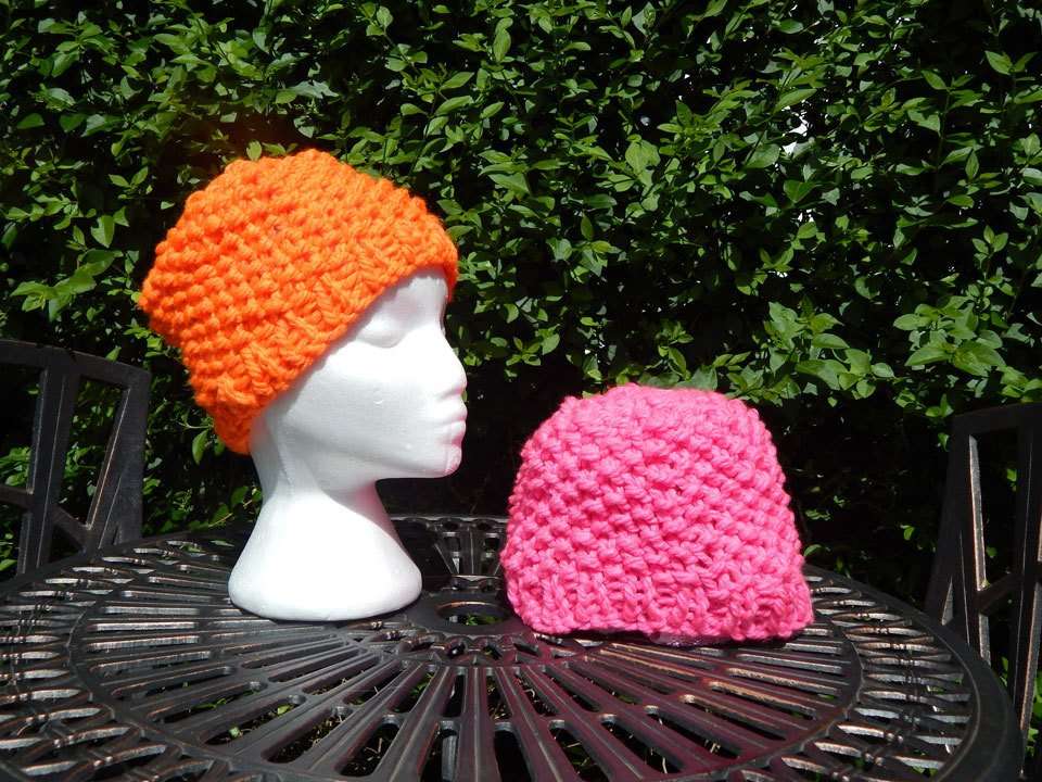 Orange and Pink Beanies