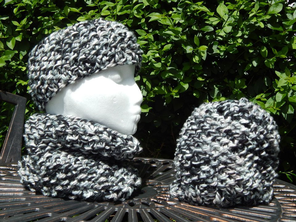 Black,grey and white headband