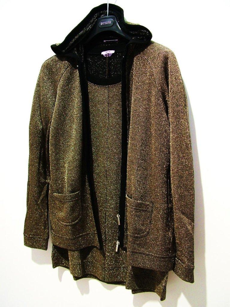 t-shirt lurex oro giacca cappuccio