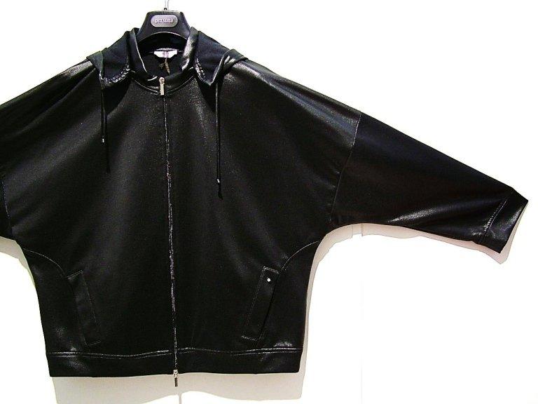 giacca cappuccio nera eco pelle