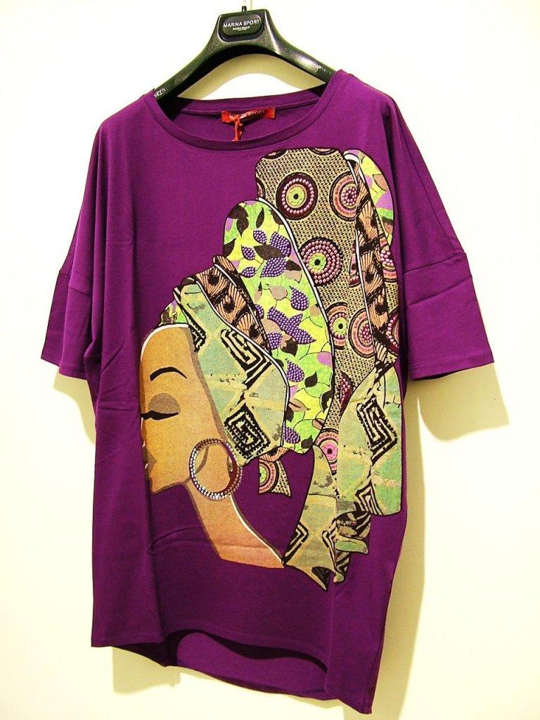 maglia viola con stampa