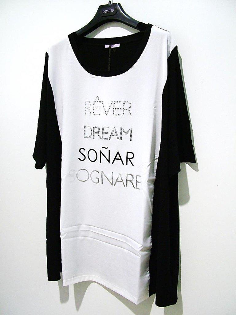 maglia bianca e nera con scritte