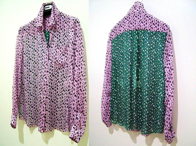 camicia a pois rosa e verde