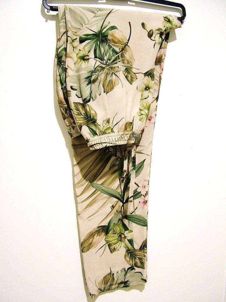 pantaloni con elastico stampa floreale