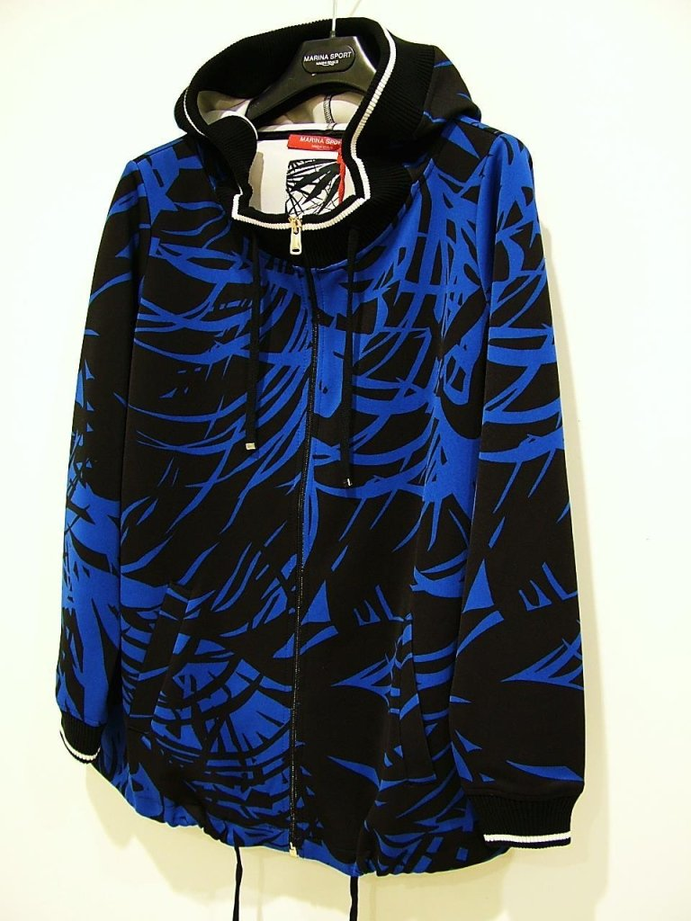 felpa con zip blu e nera