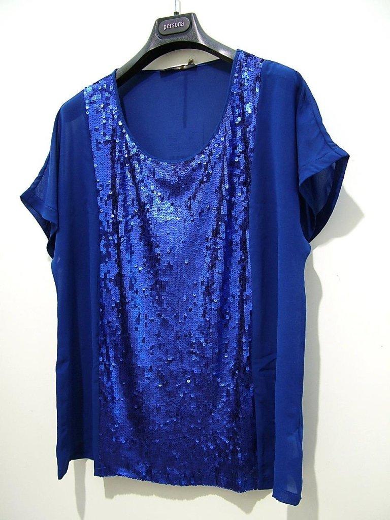 maglia blu con paillettese