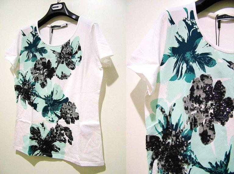 t-shirt bianca con disegno verde e paillettes