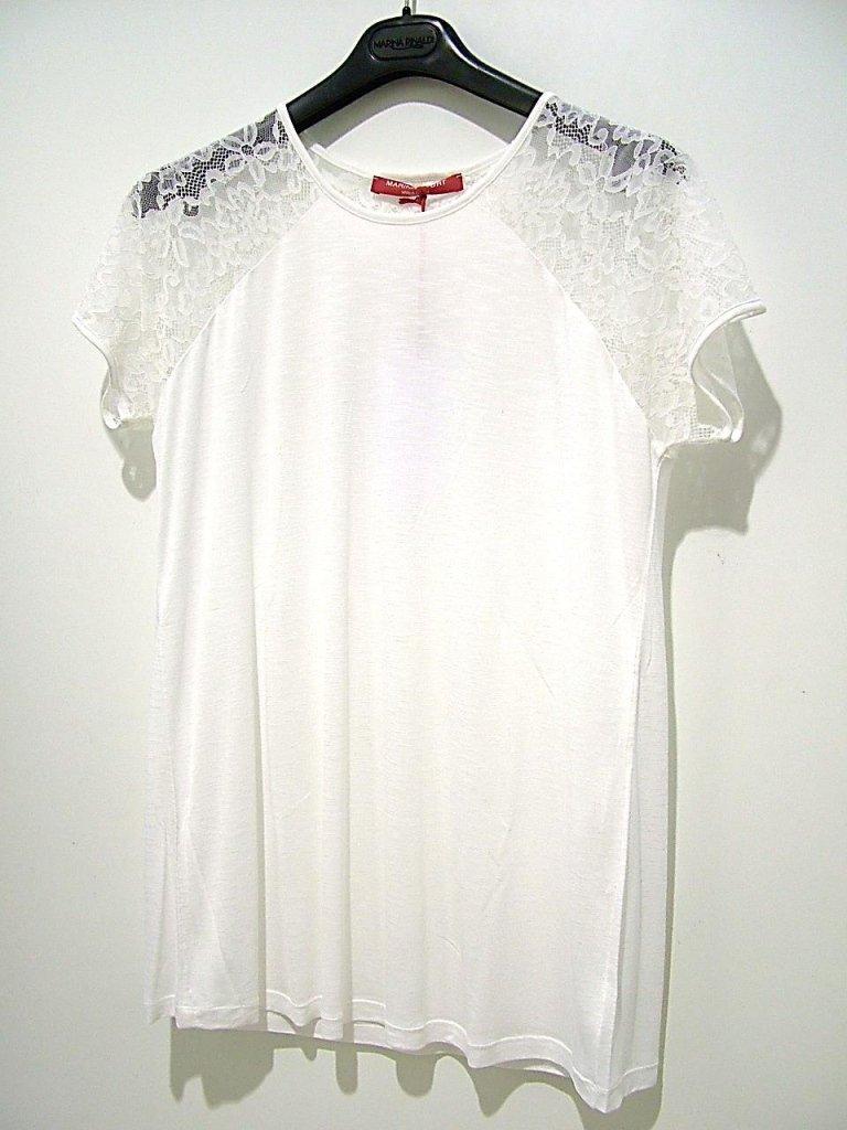 maglia bianco con spalle in pizzo