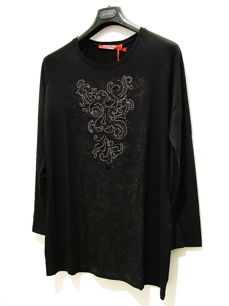 t-shirt jersey ricamato nera