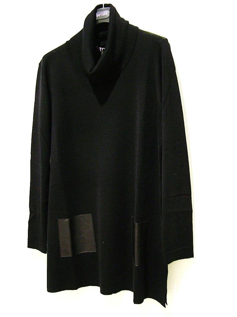 maglia collo alto con tasche eco pelle